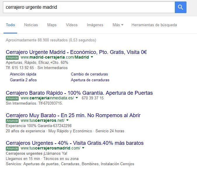 Resultado de Búsqueda en Google con anuncios de Google AdWords